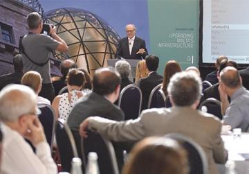 Finance Minister Edward Scicluna addresses yesterday's pre-Budget business breakfast. Photo: Jonathan Borg