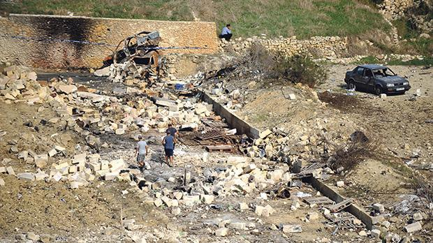 The 2012 fireworks factory explosion in Għarb. Photo: Chris Sant Fournier