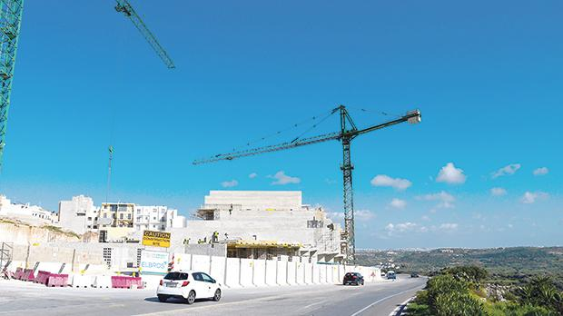 Works under way at the block of 152 apartments in Mellieħa. Photo: Jonathan Borg