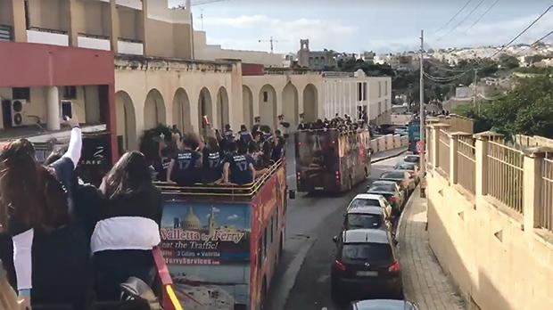 A grab from a video showing a bus party that was posted on social media
