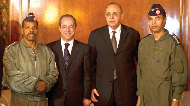 The two pilots with Prime Minister Lawrence Gonzi and Libyan interim Prime Minister Abdurrahim El-Keib during Dr Gonzi's visit to Tripoli last November.