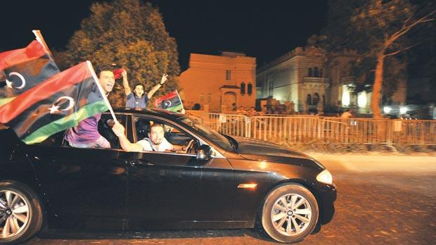 Libyans living in Malta carcaded through the night between Sunday and yesterday. Photo: Jason Borg