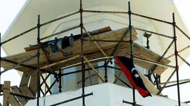 The pre-revolution Libyan flag hoisted at the mosque in Corradino. Photo: Darrin Zammit Lupi