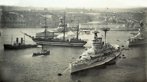 The Amerigo Vespucci in Grand Harbour on her first visit in 1935 alongside warships of the Royal Navy's Mediterranean fleet (from Nostalgias Of Malta, Images by Geo Fürst from the 1930s by Giovanni Bonello, published by Fondazzjoni Patrimonju Malti).