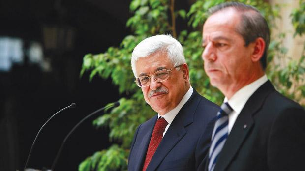 Mahmoud Abbas addressing a news conference with Prime Minister Lawrence Gonzi during his visit to Malta in 2008. Photo: Darrin Zammit Lupi