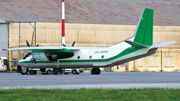 The Libyan military transport aircraft, Antonov 26, landed yesterday. Photo: Ian Pace