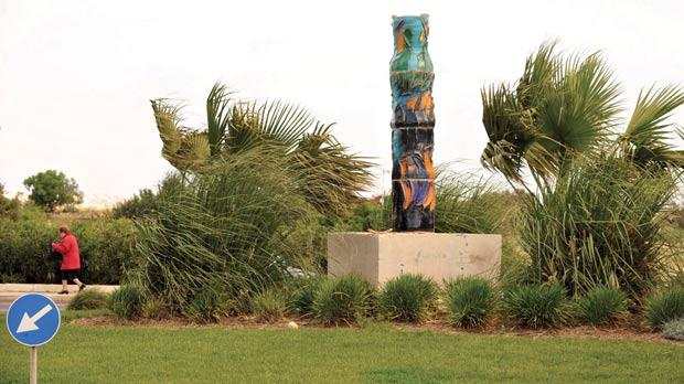 The vandalised Luqa roundabout sculpture. Photo: Chris Sant Fournier