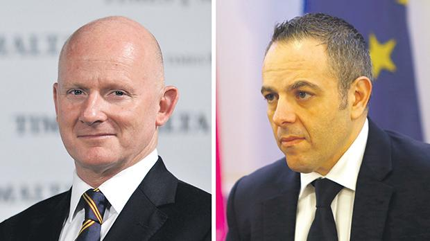 Adrian Hillman (left) and Keith Schembri are refusing to give details on their personal business connection.