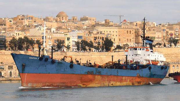 A file picture of the Amazigh F, one of the tankers identified by the United Nations as being involved in fuel smuggling.
