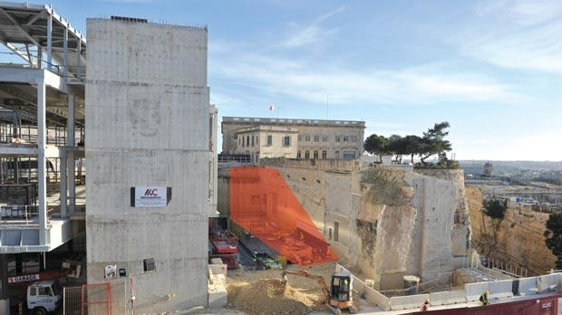 The site for the Maltese capital's version of Rome's Spanish Steps (shown roughly in red), which will lead from Republic Street to Pope Pius V Street.