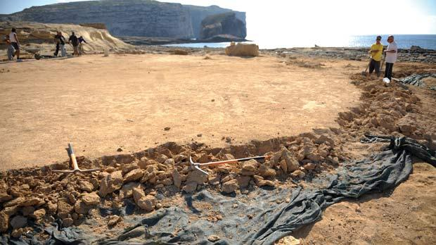 A considerable area in Dwejra was covered in construction sand for the filming of the HBO TV series Game of Thrones. Photo: Matthew Mirabelli