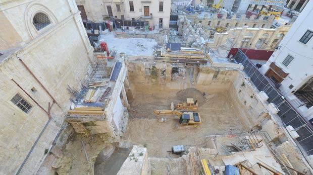 The site where the Valletta police station used to be located is being excavated to open up space for the Opera House's backstage facilities.