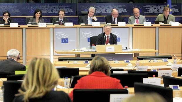 Tonio Borg answers questions in Brussels yesterday. Photo: AFP