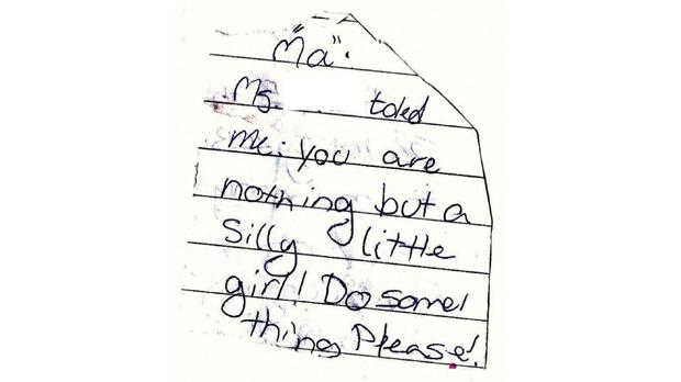 The note Eva gave to her mother. The name of the assistant head has been removed.