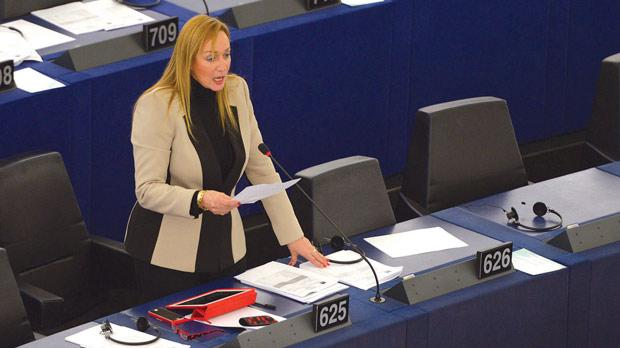 Marlene Mizzi speaking during a plenary session of the European Parliament in Strasbourg. Photo: Matthew Mirabelli
