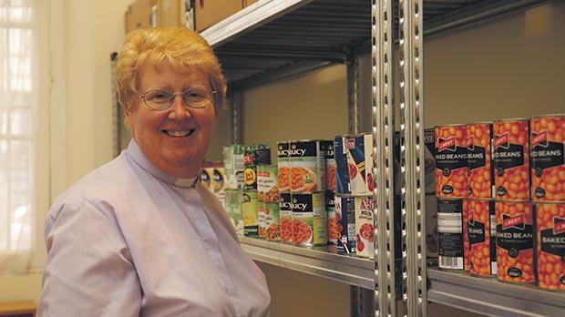 Rev. Kim Hurst at the foodbank. Photo: Darrin Zammit Lupi