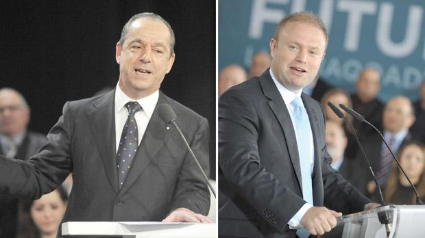 Prime Minister Lawrence Gonzi (left) must defend his record, while Labour leader Joseph Muscat will argue the merits of a responsible change in government.