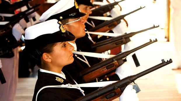 22 of the 111 midshipmen on the Amerigo Vespucci are women.