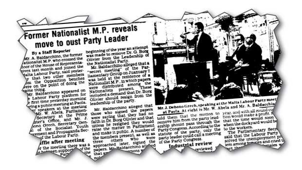 The Times report of Alfred Baldacchino's revelation PN MPs had signed a declaration of no confidence in Dr Borg Olivier's leadership in 1974.