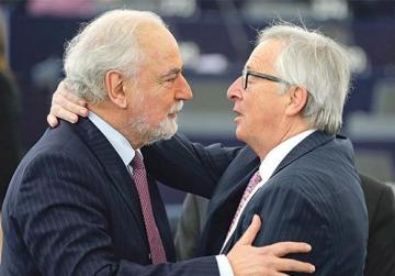 European Commission President Jean-Claude Juncker hugs Malta   s Deputy Prime Minister Louis Grech at the  European Parliament in Strasbourg, France, last week upon their arrival at a debate on the future of the European Union to mark the upcoming 60th anniversary of the Treaty of Rome. Photo: Vincent Kessler/Reuters