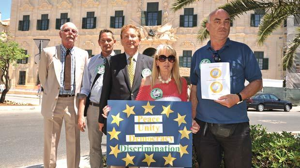 European nationals who live in Malta gathered outside the Prime Minister's office in Valletta in May to deliver a petition complaining they were being discriminated against. Photo: Chris Sant Fournier