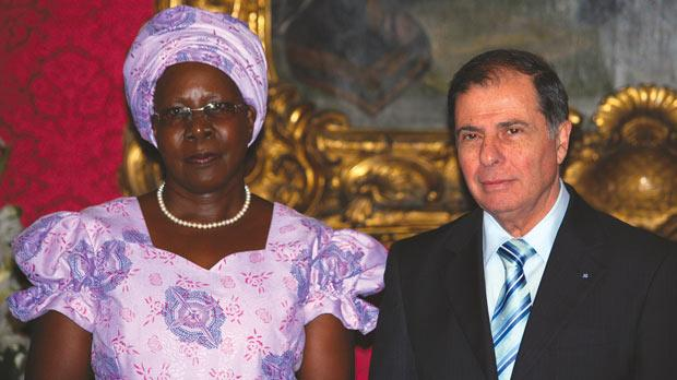 Uganda's High Commissioner to Malta Dinah Grace Akello with President George Abela yesterday. Photo:Mark Zammit Cordina