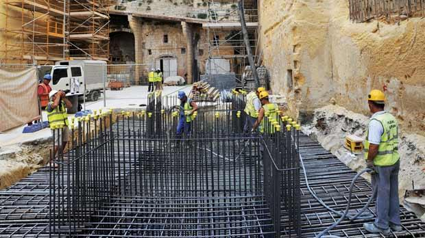 The foundations were yesterday laid in preparation for the construction of the panoramic lift leading from Lascaris Wharf in Grand Harbour to the Upper Barrakka Gardens in Valletta. Photo: Chris Sant Fournier