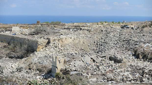 The remains of the Għarb fireworks factory that blew up two years ago. Photo: Matthew Mirabelli