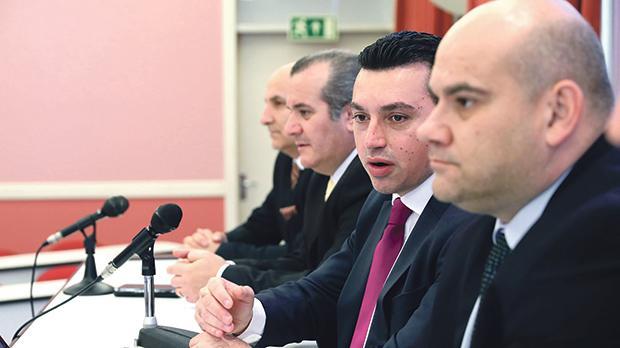 Parliamentary Secretary Aaron Farrugia addressing yesterday's press conference. Photo: Reuben Piscopo/DOI