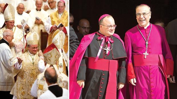 Mgr Charles Scicluna raises his arms as he is ordained Malta's Auxiliary Bishop following a two-and-a-half hour ceremony yesterday. Photo: Darrin Zammit Lupi. Right: Mgr Charles Scicluna and Archbishop Paul Cremona smile as they leave St John's Co-Cathedral after the ceremony. Photo: Paul Zammit Cutajar