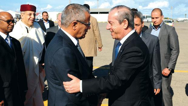 Libyan Prime Minister Ali Zeidan greets Lawrence Gonzi in Tripoli yesterday. Photo: Jeremy Wonnacott/DOI