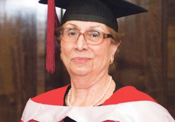 Octogenarian PhD graduate marches to her own beat