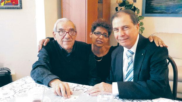Eritrean human rights activist Elsa Chyrum meets former President George Abela (right) and Fr Dionysus Mintoff from the Peace Lab, with whom she worked in vain to stop the deportation of 220 Eritreans in 2002. Photo: Jesuit Refugee Service