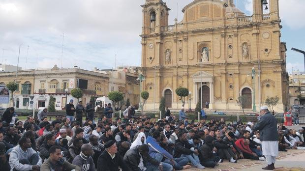 Muslims have met close to the Msida parish church in recent weeks for Friday prayers, prompting a protest by the Għaqda Patrijotti Maltin. Photo: Steve Zammit Lupi