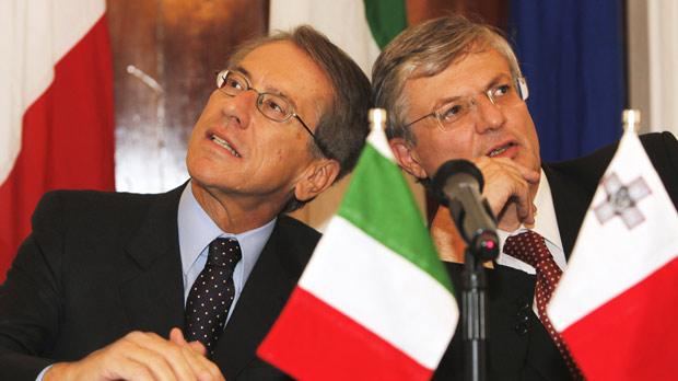 Italy's Foreign Minister Giulio Terzi and Tonio Borg yesterday. Photo: Darrin Zammit Lupi