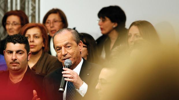 Prime Minister Lawrence Gonzi speaking in Birżebbuġa last night. Photo: Darrin Zammit Lupi