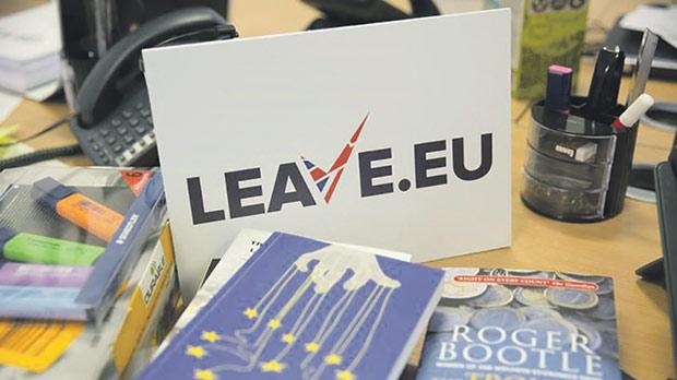 A sign for pro Brexit group pressure group Leave.eu is seen in their office in London.
