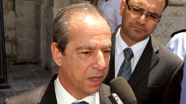 Prime Minister Lawrence Gonzi addressing journalists outside Parliament after he voted against on the second reading of the divorce Bill last Wednesday. Photo: Chris Sant Fournier