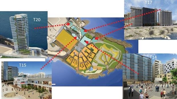 An artist's impression of the project shows the proposed tower (T20) that has now been scrapped by Midi.