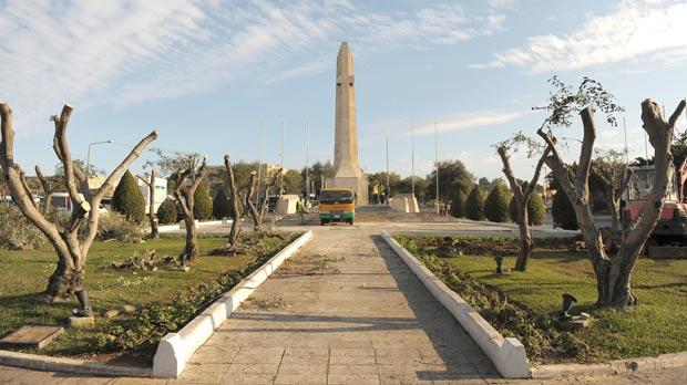 Heavy pruning at the Floriana War Memorial roundabout is being carried out to improve visibility of the monument. Photo: Matthew Mirabelli