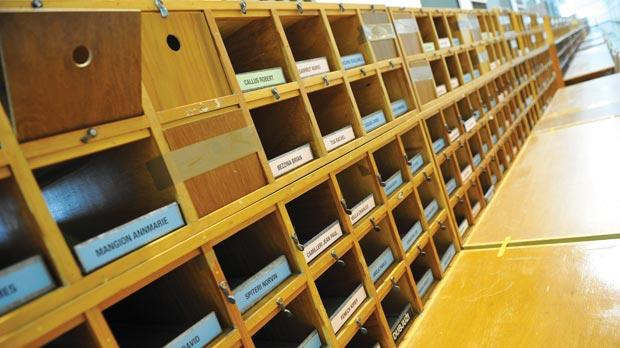 Pigeon holes at the counting hall in Naxxar are all set to receive the ballot sheets of council elections in 35 localities. Photo: Chris Sant Fournier.