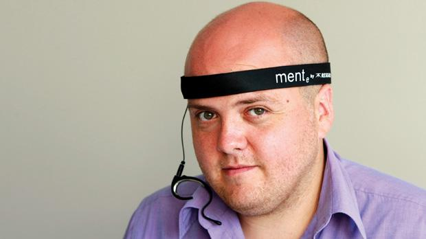 The inventor and the invention: autism can be aided by simply wearing a high-tech headband. Photo: Darrin Zammit Lupi