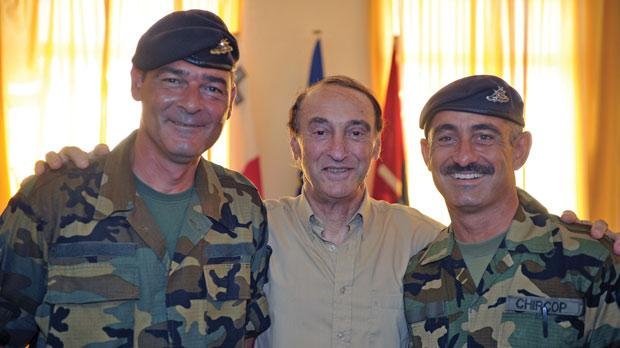 Norman Farrugia with Lance Bombardier Matthew Debattista, left, and Sergeant Emanuel Chircop.