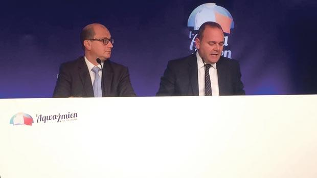 PL deputy leader Chris Cardona and MP Stefan Zrinzo Azzopardi at the press conference yesterday.