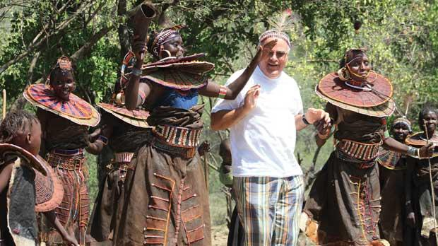 Fr George Grima sharing a dance with the Pokot tribe in Kenya.