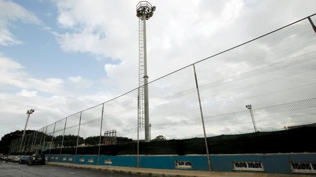 The Mosta FC football ground has been served with an enforcement notice over illegal works carried out, including the green netting on the perimeter fence. Photo: Darrin Zammit Lupi