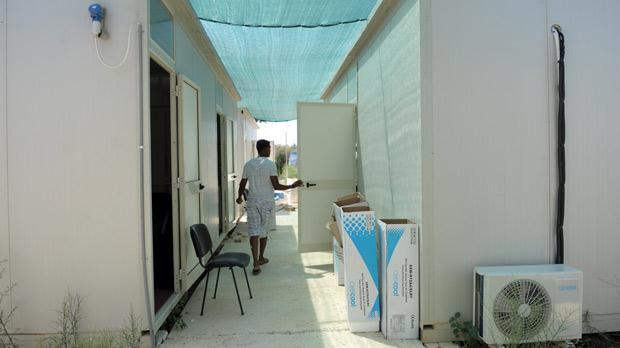 Air conditioning units installed at the Refugee Commissioner's mobile offices at the Safi detention centre last week. Photo: Matthew Mirabelli