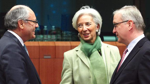 From left: Edward Scicluna, Christine Lagarde, managing director of the IMF and Olli Rehn, Commissioner for Economic and Monetary Affairs, at the eurogroup meeting.