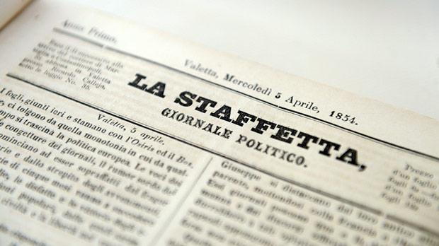 La Staffetta, dated April 5, 1854, from the National Library's vast Newspapers Collection.
