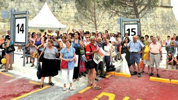 Commuters waiting at the terminus in Valletta, yesterday. Photo: Jason Borg